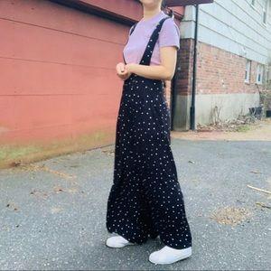 Free People black dot wide leg pants